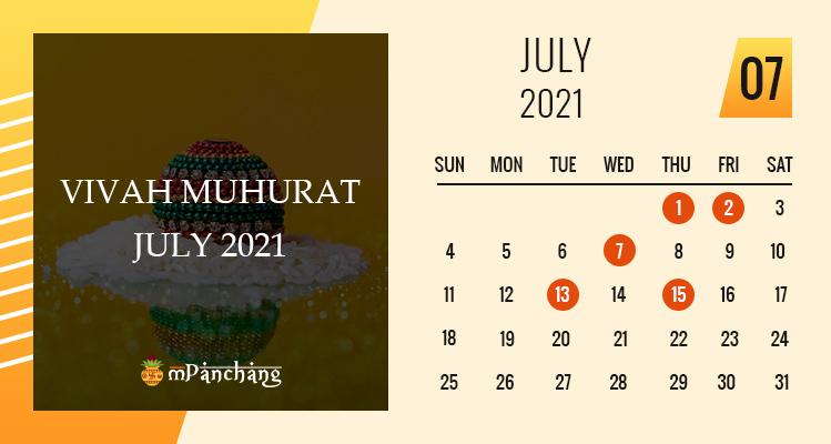 Vivah Muhurat in July 2021